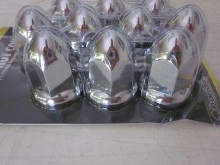 10 PACK PLASTIC CHROME BULLET DESIGN 33mm X 2 1/2H HEX LUG NUT COVERS