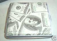100 DOLLAR BILL MONEY CIGARETTE CASE HOLDER METAL