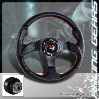 86 89 Acura Integra Red Stitched PVC Leather Racing 320mm Steering