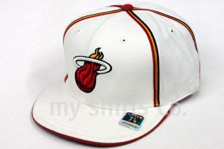 Heat White Red Yellow Black Authentic NBA Reebok Fitted Cap BRAND NEW