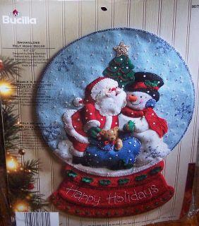 Bucilla SNOW GLOBE Felt Christmas Wall Hanging Kit OOP Completely