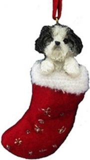 SHIH TZU DOG CHRISTMAS HOLIDAY STOCKING ORNAMENT WITH
