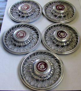 Five Vintage 1987 Cadillac Eldorado Hub Caps Wire Wheels Spare Anti