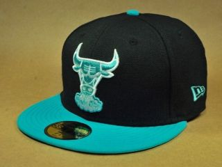 CHICAGO BULLS BLACK 2 TONE BASIC CUSTOM FITTED NBA MAN SIZE HAT