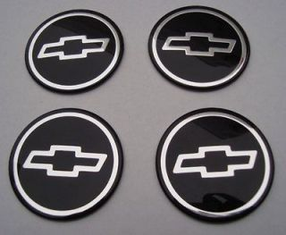 NEW OEM CHEVY BOWTIE EMBLEM SET OF 4 WHEEL CENTER CAPS BLACK AND