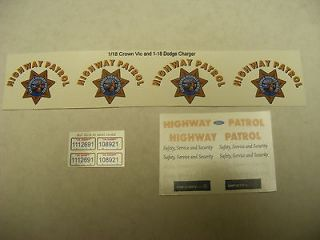 California Highway Patrol CHP 1/18 Waterslide Decals 2 Sets Crown Vic