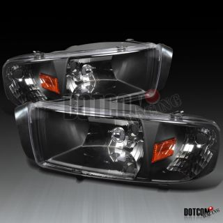 DODGE RAM BLACK CLEAR CRYSTAL HEADLIGHTS LAMPS SIGNAL CORNER 2IN1 PAIR
