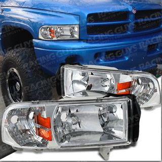 EURO DODGE RAM PICKUP TRUCK CHROME HEAD LIGHTS W AMBER REFLECTOR LAMPS
