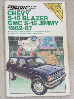 Chilton Chevy Blazer Jimmy Repair Manual 1982  1987 S 10 S 15 1986