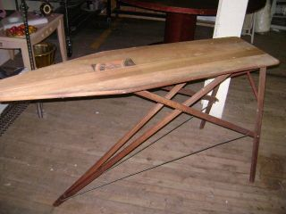 VINTAGE IRONING BOARD WOODEN IRONING BOARD