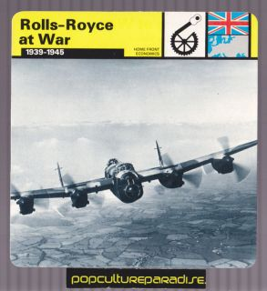 ROLLS ROYCE WW2 Merlin Airplane Engines Lancaster CARD