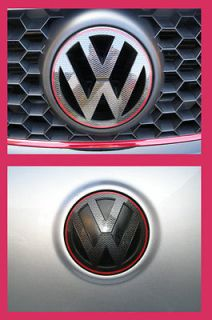 CARBON FIBER GRILL REAR BADGE EMBLEM LOGO DECAL SET VW GOLF MK5 GT GTI
