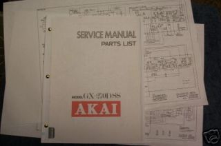 AKAI GX 270D SS Reel to Reel Service Manual FREE SHIP!