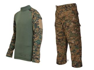 SPEC WOODLAND DIGITAL MARPAT CAMO COMBAT SHIRT AND ACU CUT TROUSERS