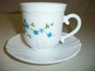 Arcopal France Veronica Pattern White with Blue Flowers Cup & Saucer