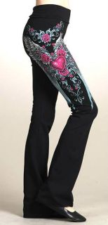 CRYSTAL HEART ROSE ANGEL WINGS TATTOO YOGA PANTS LEGGINGS & ED HARDY