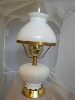 VINTAGE FENTON HOBNAIL MILK GLASS HURRICANE TABLE LAMP