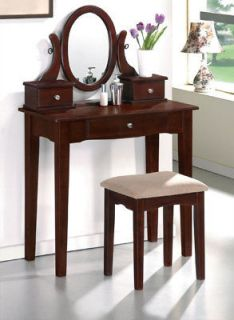 FREE SHIP**CHERRY FINISH WOOD VANITY TABLE MAKEUP MIRROR STOOL BENCH