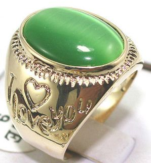 Beautiful gold plate green cat eyes stone Ring size 9 11#