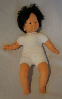 "21"" Furga 1988 Stuffed Plush Plastic Tan Black Hair Oriental Baby"