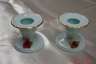 Pair   Bone China Candleholders   Royal Adderley Floral (England)