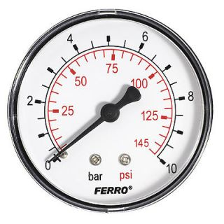 145PSI Pressure Gauge air oil or water 1/4 BSPT Rear Entry Manometer