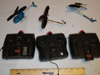 LOT OF 3 Air Hogs Remote Control Helicopters & Controllers spin master