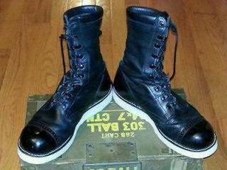 Vintage black Paratrooper Corcoran white Vibram soles working boots