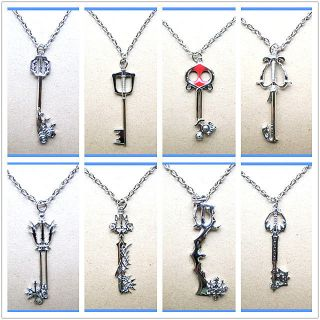 8PCS SET Kingdom Hearts Sora Keyblade Necklace Key Blade Hot