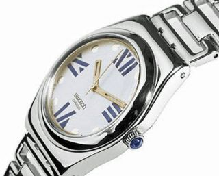 New SWATCH Womens Ladies Irony Sobriquet Metal Strap Silver Watch