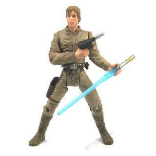 Free ship Star Wars Clone Wars Luke Skywalker 2001 Figure & Lightsaber