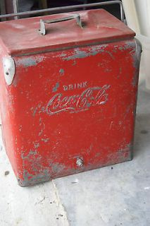 VINTAGE COCA COLA COKE PORTABLE METAL COOLER ICE CHEST BOX 19 1/2