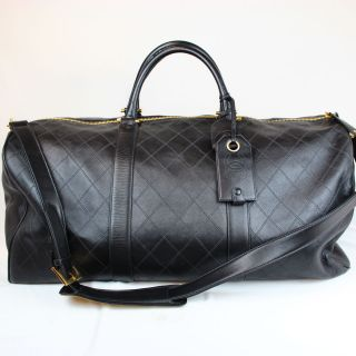 Authentic Chanel Large 2Way Boston Luggage Travel Bag Calf Skin Black