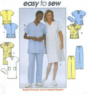 Misses Uniform Scrubs Top Dress Pants Hat Sewing Pattern V Neck Kimono