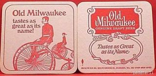 MILWAUKEE 3 3/8  SQUARE 1972 ONE BEER COASTER TWO 3 WHEEL BIKE #189