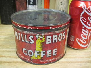 VINTAGE 1 POUND HILLS BROS COFFEE TIN CAN OLD country store jmj
