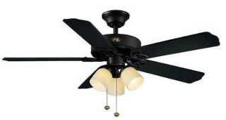 Hampton Bay Colby 52 inch Ceiling Fan with 3 Globe Light Kit Matte