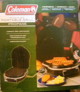 COLEMAN FOLD N GO PORTABLE PROPANE GAS GRILL OUTDOOR TAILGATING