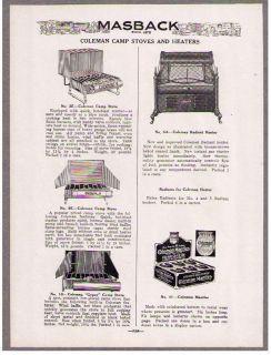 COLEMAN CAMP STOVES AND HEATERS, GRISWOLD HOT PLATES, PERFECTION OVENS