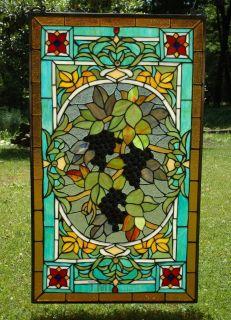 20 x 34 Tiffany Style stained glass Jeweled window panel Grape