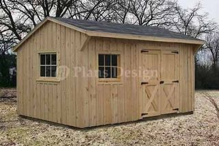 10 x 14 Saltbox Roof Shed Plans / Blueprints, #71014