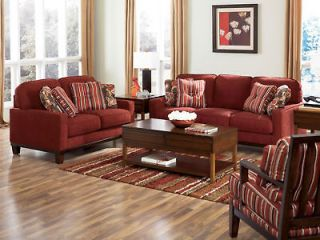 MAX   CONTEMPORARY RED FABRIC SOFA COUCH & LOVESEAT SET LIVING ROOM