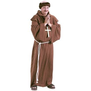 Monk Adult Mens Friar Tuck Priest Brother with Wig Halloween Costume
