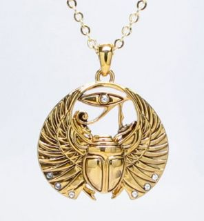 EGYPTIAN AMULET SCARAB WINGS NECKLACE FASHION JEWELRY ALLOY GOLD TONE