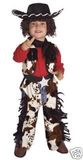 Childs Boys COWBOY Costume Jumpsuit w/ Vest + Hat w/ Attached Wig