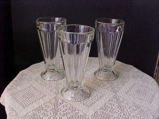 Sundae Glasses Three Tall Ice Cream or Milk Shake Glasses 7 Tall FREE
