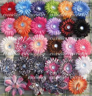 Crochet Headbands with crystal gerbera Daisy Flower clips hair bows