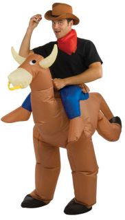 Adult Inflatable Ostrich Bull Rider Cowboy Costume Halloween