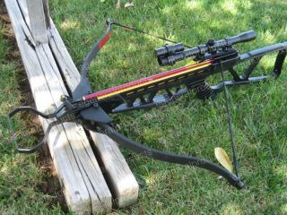 180LB ARCHERY HUNTING CROSSBOW LASER+SCOPE+ARROWS+TIPS
