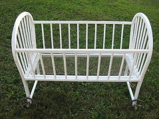 Vintage Wooden Doll/Baby Crib on Wheels